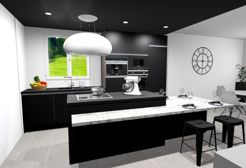 Tendance FULL BLACK cuisine sur mesure photos 3D avec la SOCIETE EDI